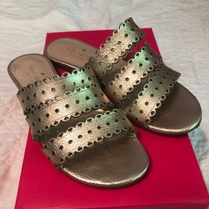Kate Spade Gold Sandals, Size 6